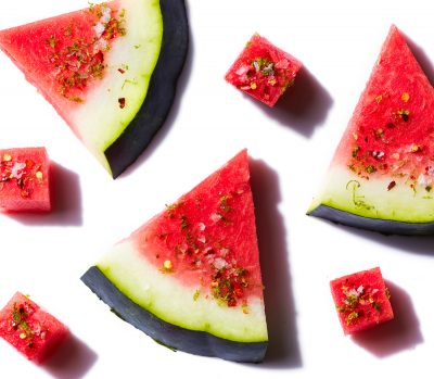 Watermelon topped with lime-chili and salt