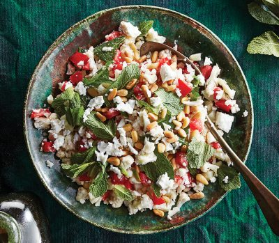 cauliflower tabbouleh on a green table cloth