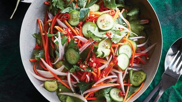 cucumber, carrot and onion Thai basil salad
