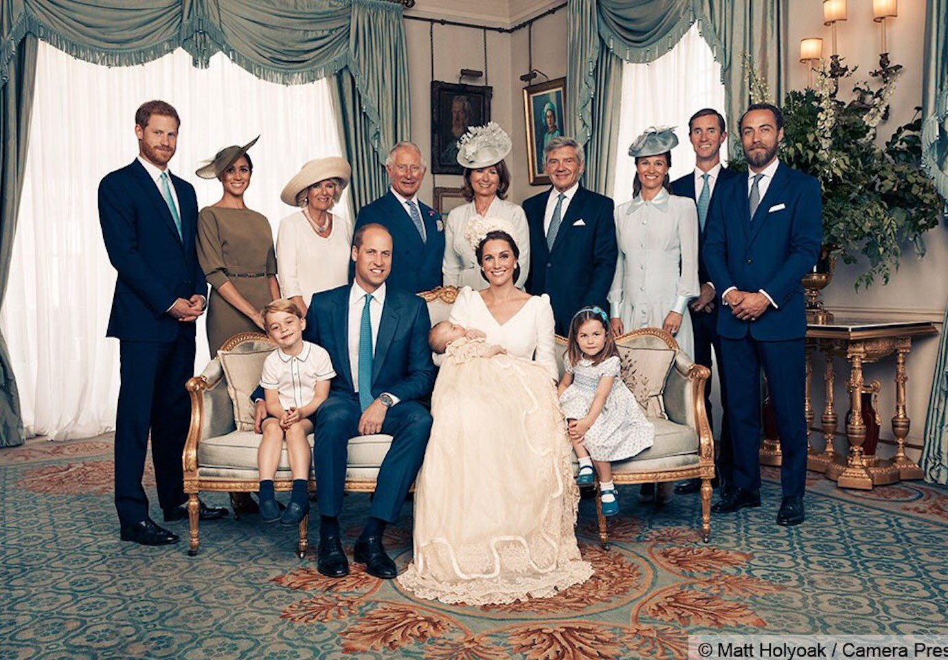 The royal family gathered around Prince Louis on the day of his Christening