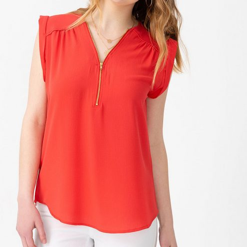 Lt red Sleeveless Cuffed Top with Front Zip from Suzy Shier