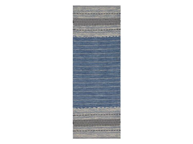 Entryway front hall decor ideas-long blue and grey hallway runner carpet