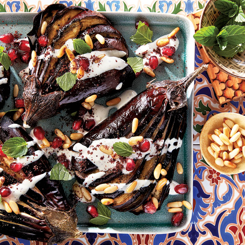 Roasted eggplant with sumac-tahini sauce
