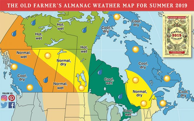 Weather Map for Summer 2018-19, Courtesy of Old Farmer's Almanac