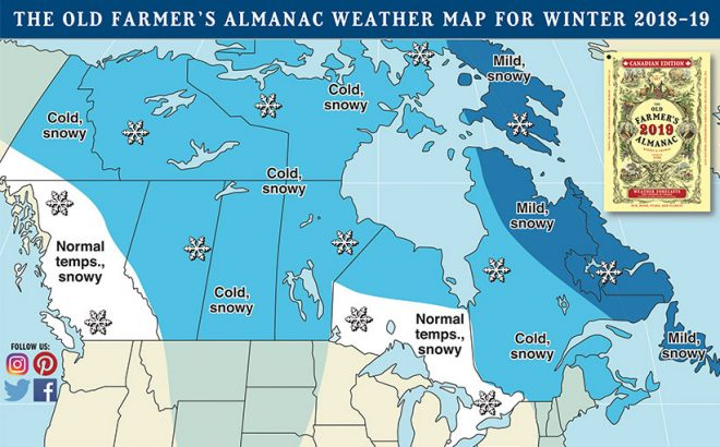 Weather Map for Winter 2018-19, Courtesy of Old Farmer's Almanac