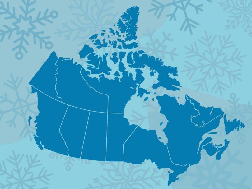 Winter weather map of Canada illustration
