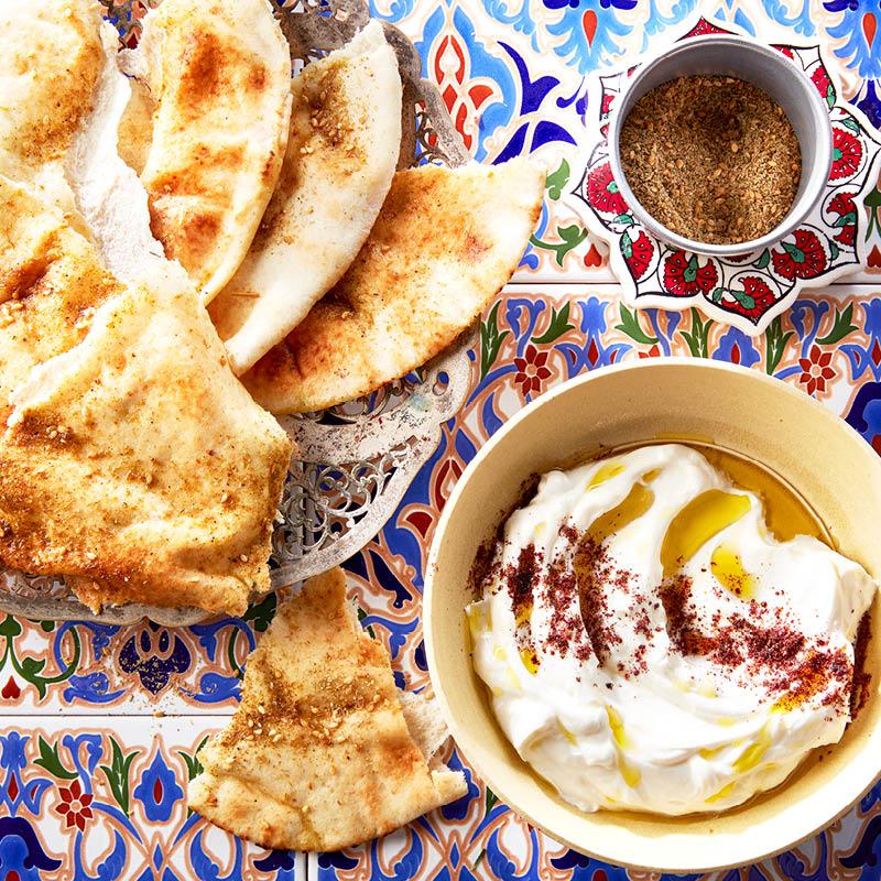 Za'atar flatbread with yogurt dip