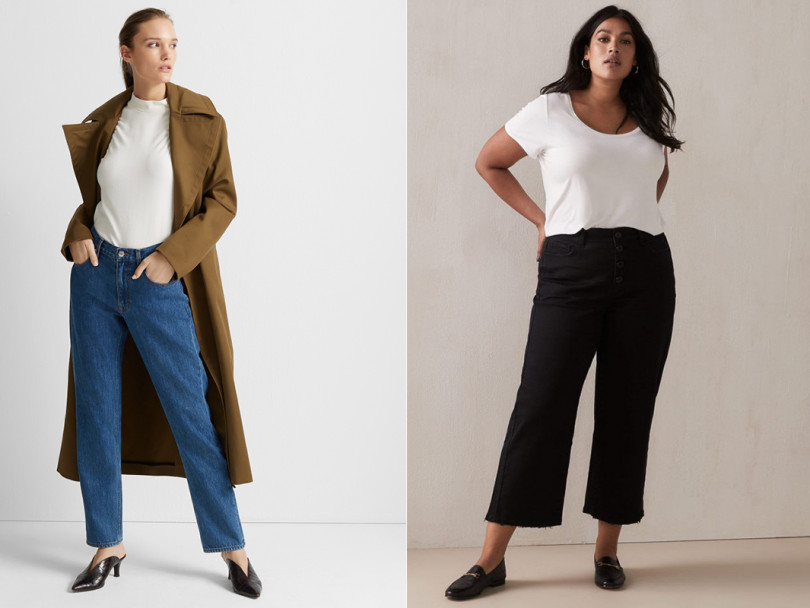Two side-by-side images of women wearing jeans against a light background to illustrate a round-up of fall denim trends.
