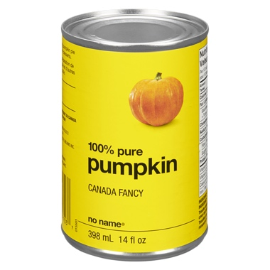 Yellow can of No Name brand pureed pumkin