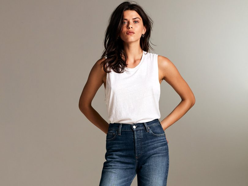 Aritzia's The Arlo Straight Leg Jean in a medium wash. Wide legged cropped denim is the jean style to try this fall