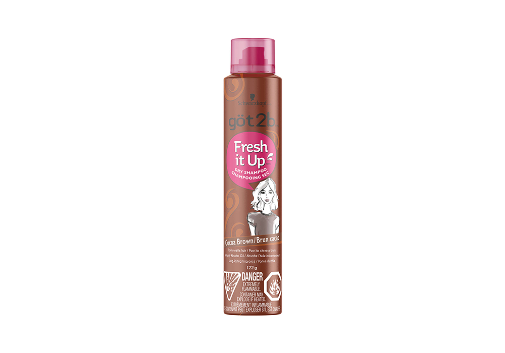dry shampoo for dark hair-dark brown cylindrical bottle with pink plastic top of got2b Fresh It Up Dry Shampoo