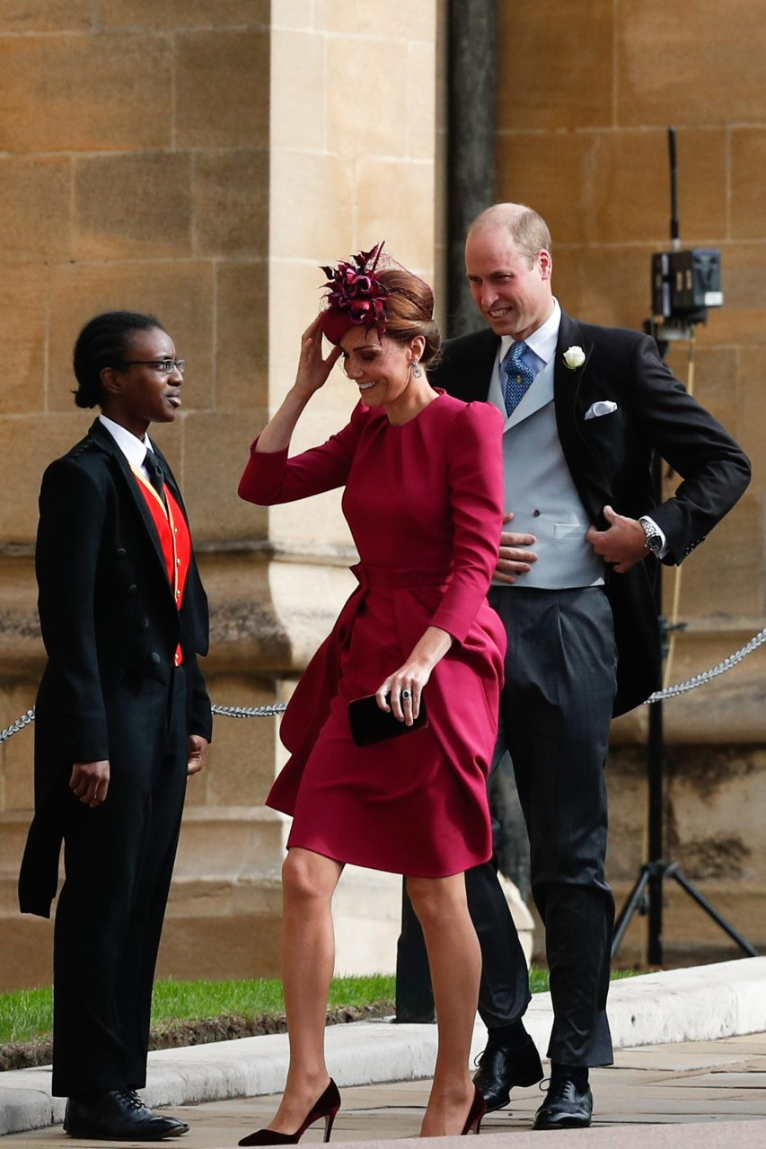 Kate Middleton, the Duchess of Cambridge, at Princess Eugenie's royal wedding in a Alexander McQueen dress.
