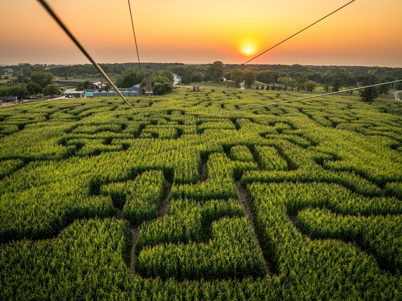best corn mazes pumpkin patches canada: aerial view of corn maze with sunset