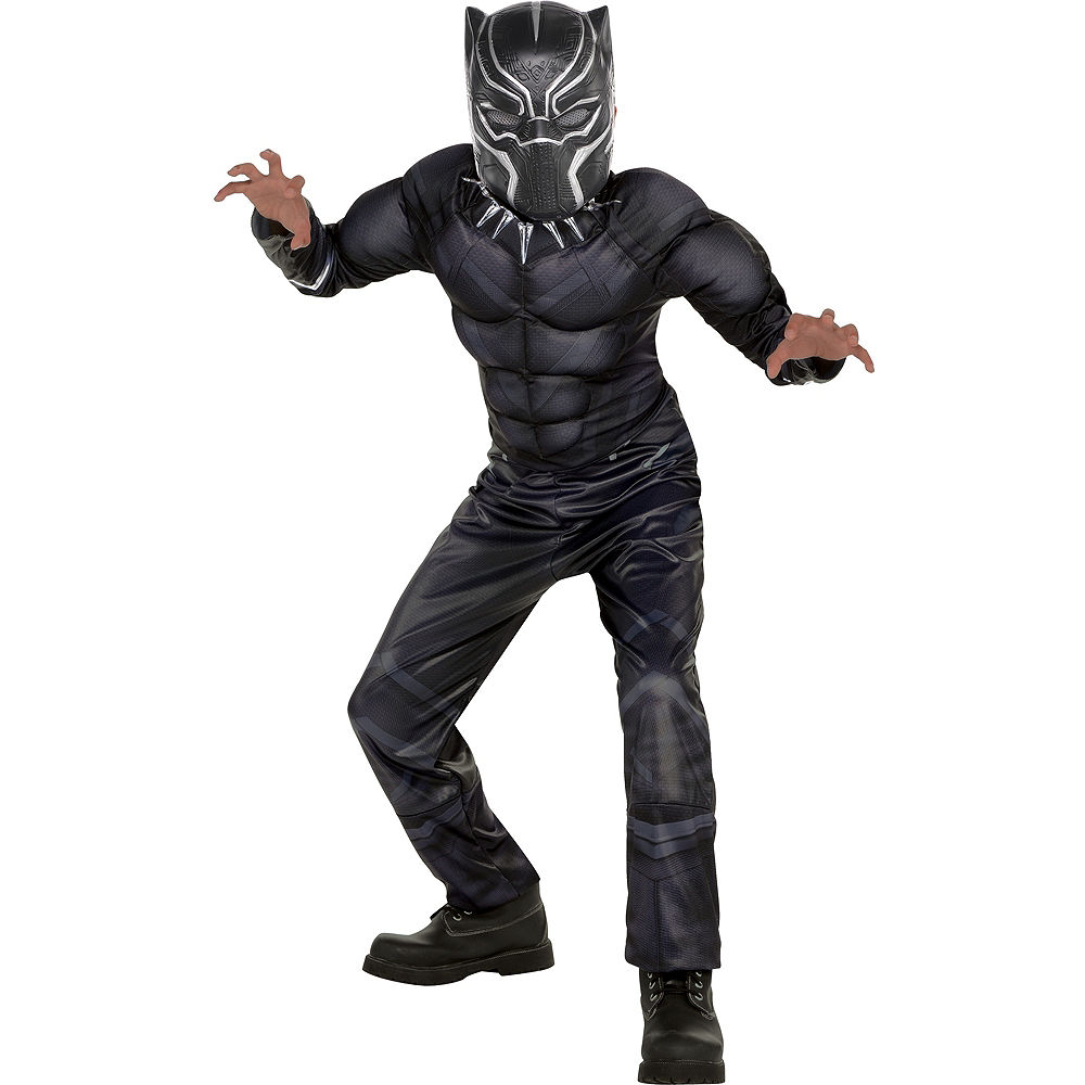 A child dressed in a Black Panther Halloween costume