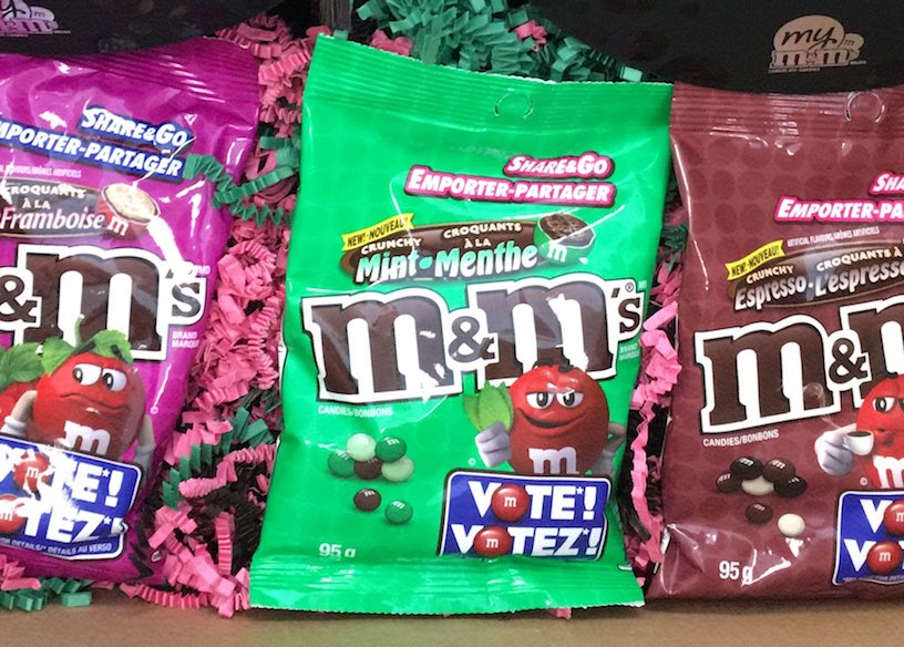 New chocolate Canada: crunchy mint M&M's