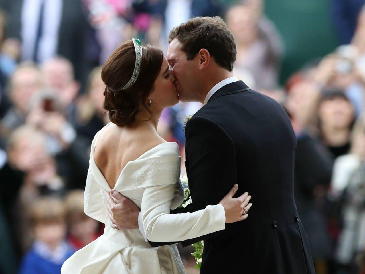 Princess Eugenie and Jack Brooksbank kiss at the royal wedding