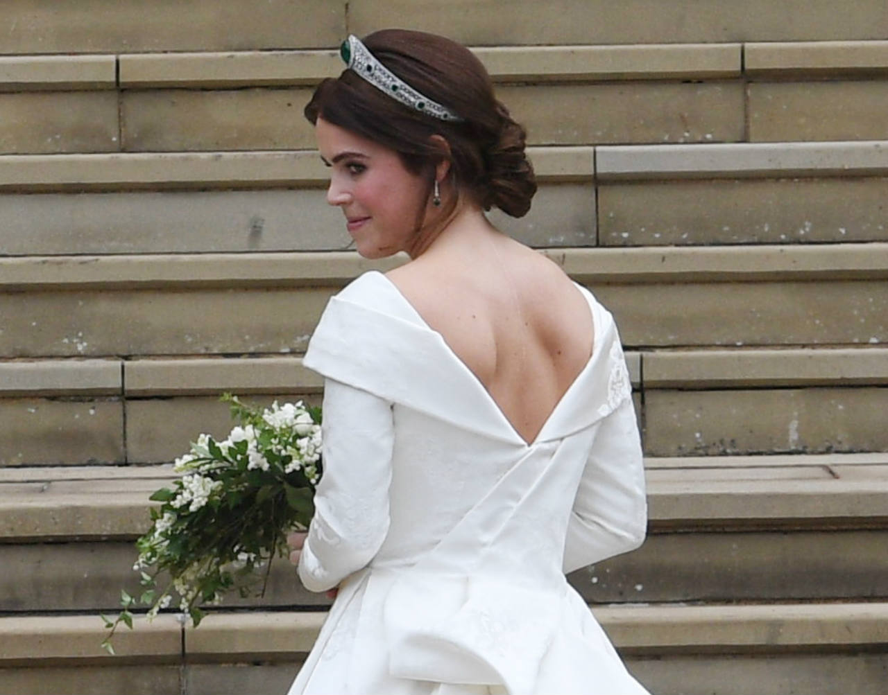 Princess Eugenie walking into the chapel in her wedding dress