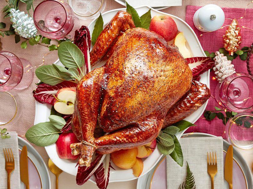 Roast turkey on a bed of salad