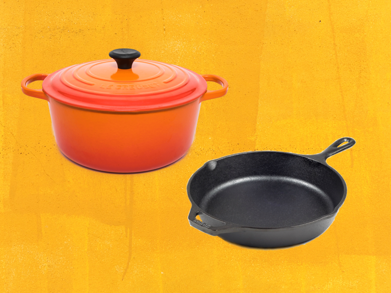 enameled cast iron dutch oven and cast iron skillet on yellow background