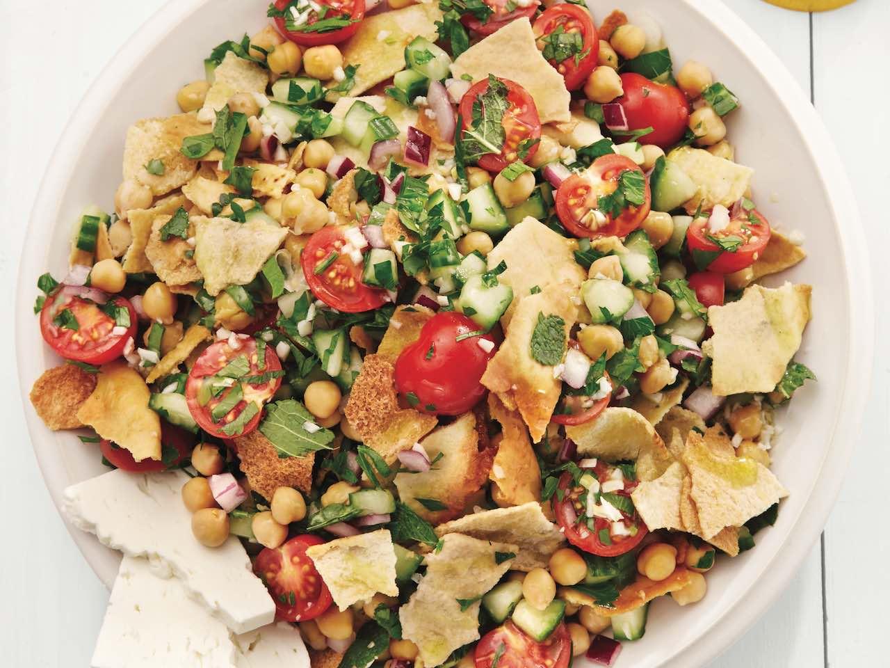 Fattoush salad recipe in white bowl