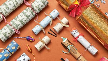 holiday crackers laid out on a table