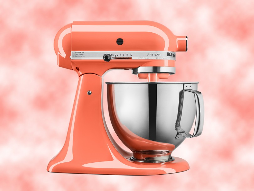 Bird of Paradise five quart stand mixer, in Pantone Colour of the year 2019 living coral