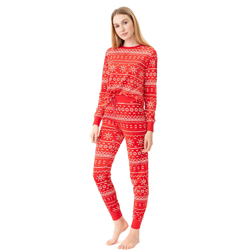 Red printed velour pyjama set from suzy shier
