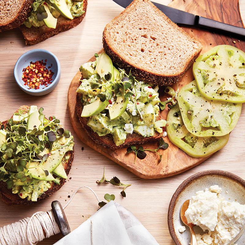 Green goddess egg salad sandwich