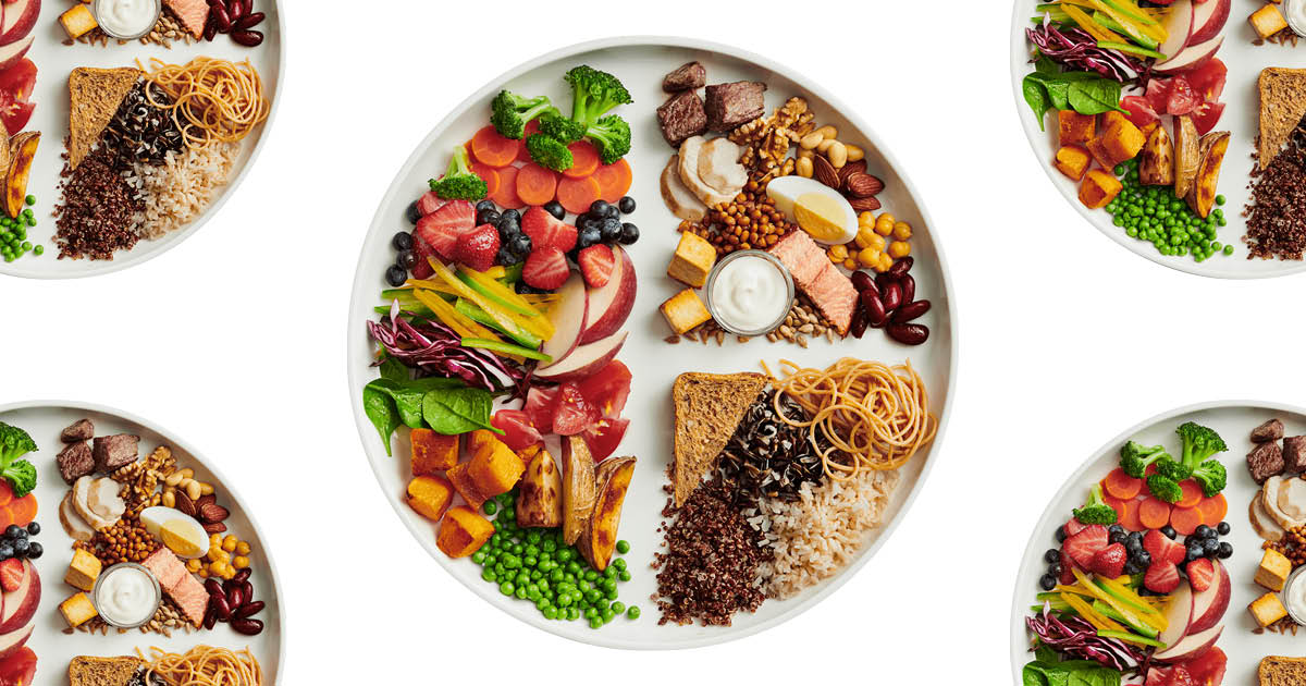 The New Canada Food Guide 2019 recommends whole-grains, plant-based proteins. A picture of a plate showing how you should eat