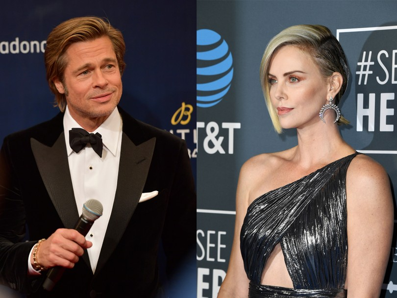 Is Charlize Theron dating Brad Pitt? Composite of Pitt in suit and Theron in metallic one-shoulder dress