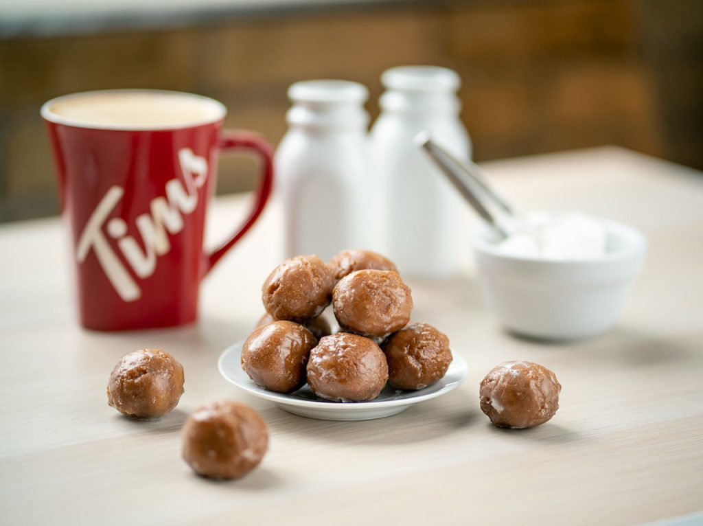 Double-Double Timbits and coffee on table