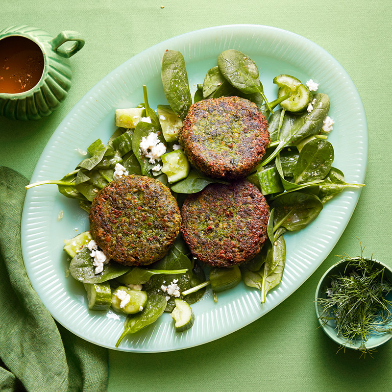 Herb falafels with smashed cucumber salad