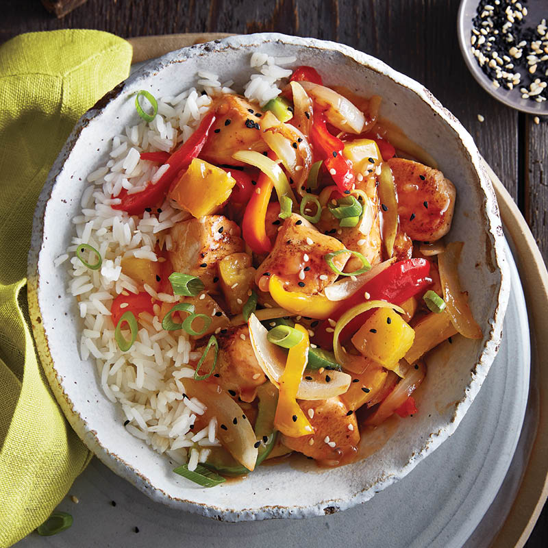 Sweet and sour chicken stir fry with pineapple and peppers