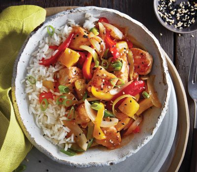 Sweet & sour chicken stir fry with pineapple and peppers