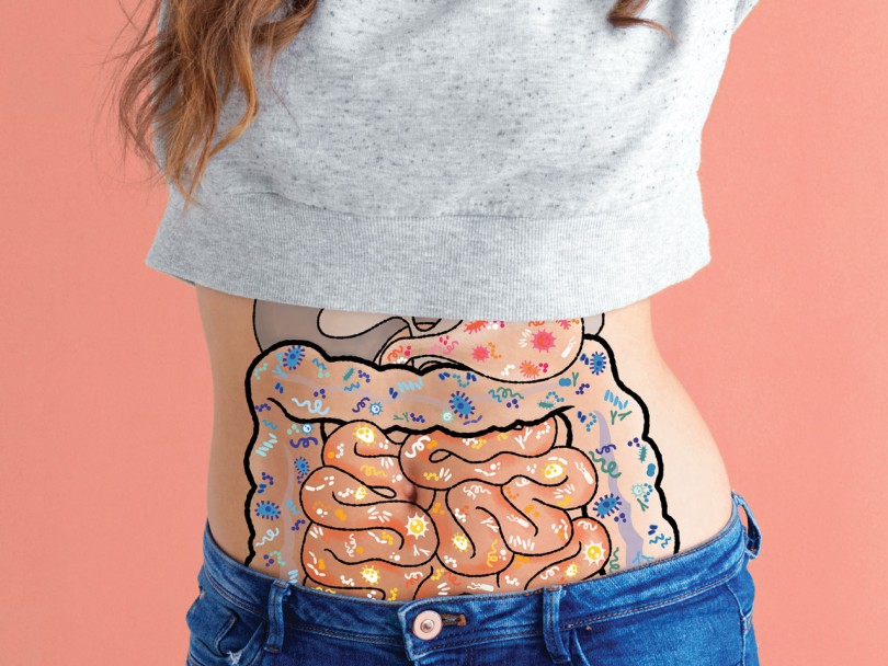 Are probiotics good for you? Photo of woman in crop top with illustration of microbes in gut organs overlaid