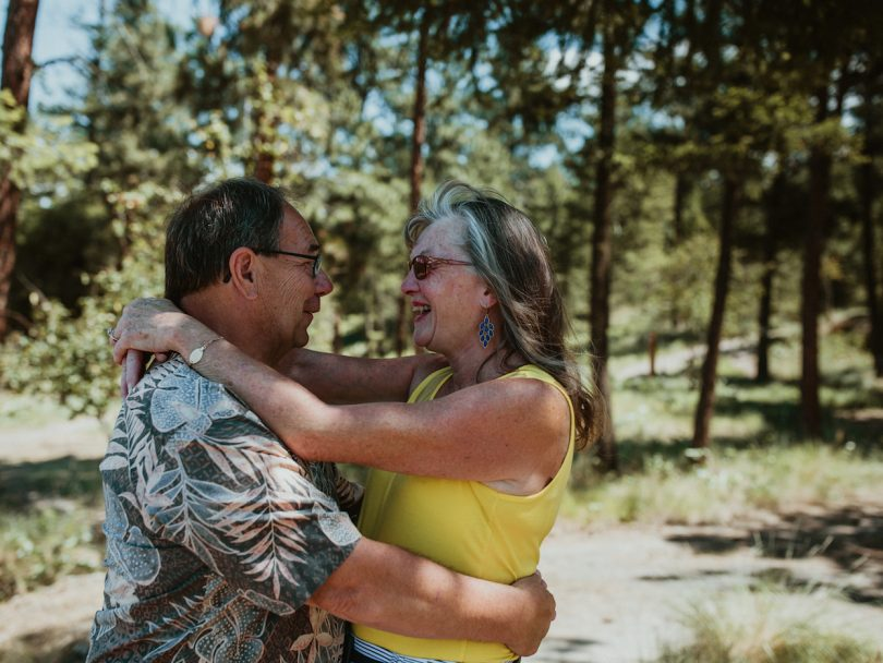 complicated love story-the author and her love embracing outside in a forest