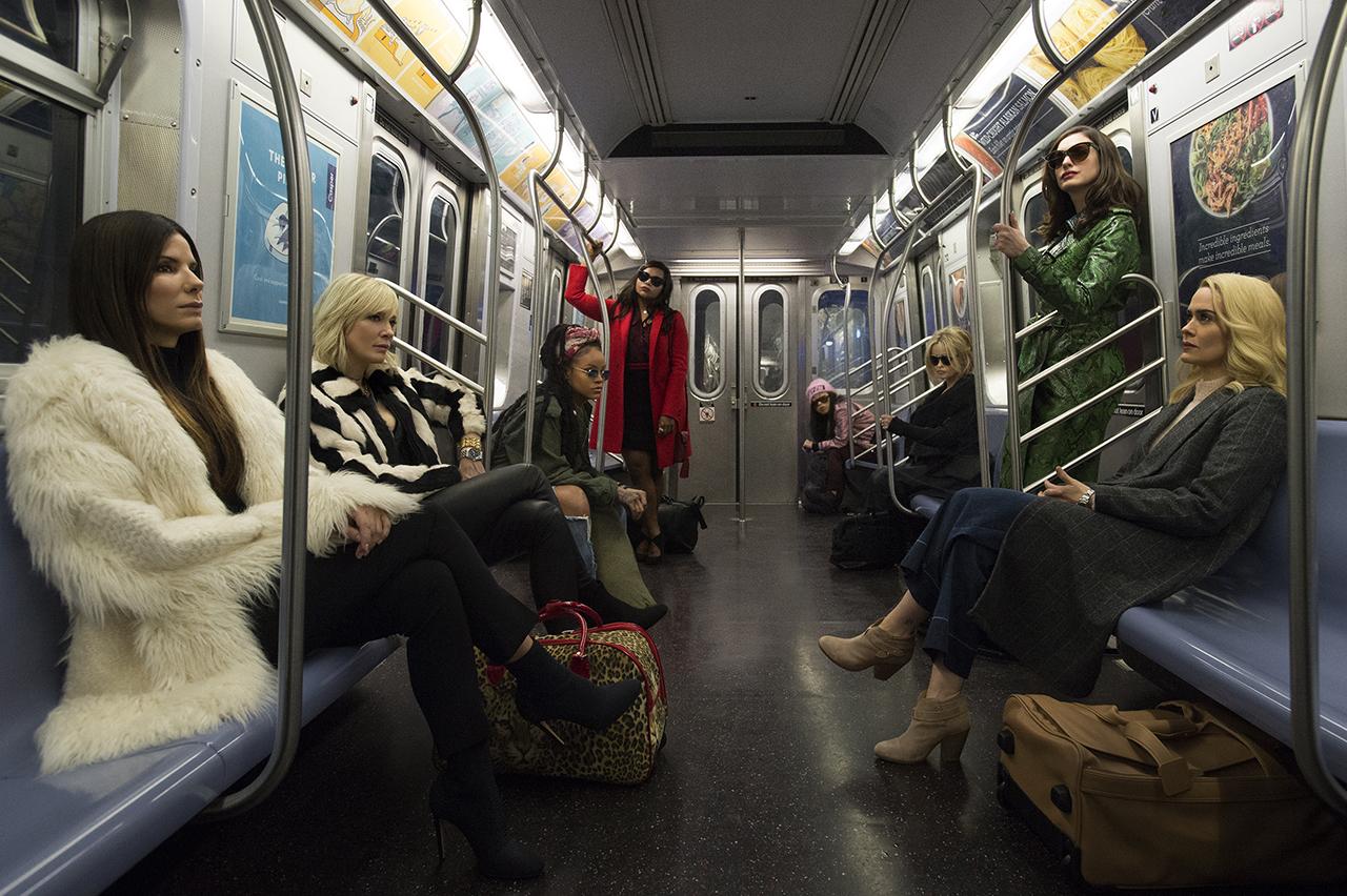 Netflix versus Crave: The 8 women of Ocean's 8 on a subway train