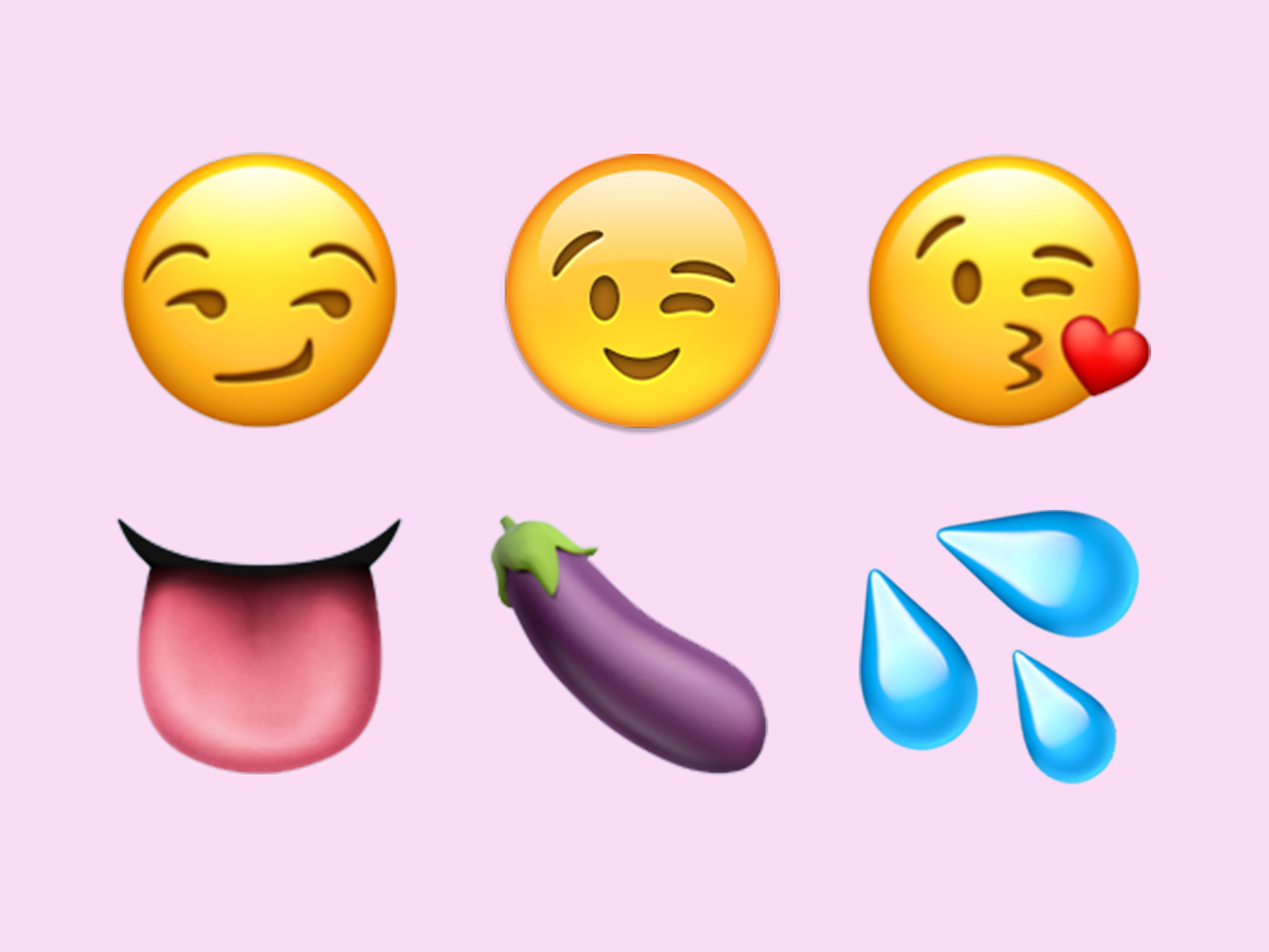 sexiest emoji — smirking face, winking face, blowing a kiss face, tongue, eggplant, and sweat droplets emoji on pink background