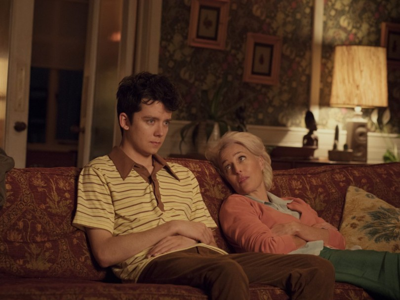 Asa Butterfield and Gillian Anderson in Netflix's Sex Education, streaming now in Canada