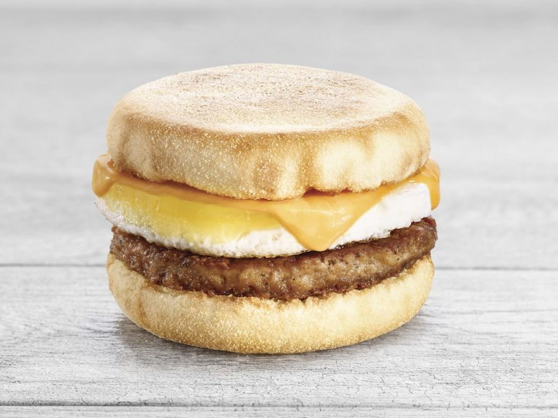 Beyond Meat sausage and egger English muffin breakfast sandwich