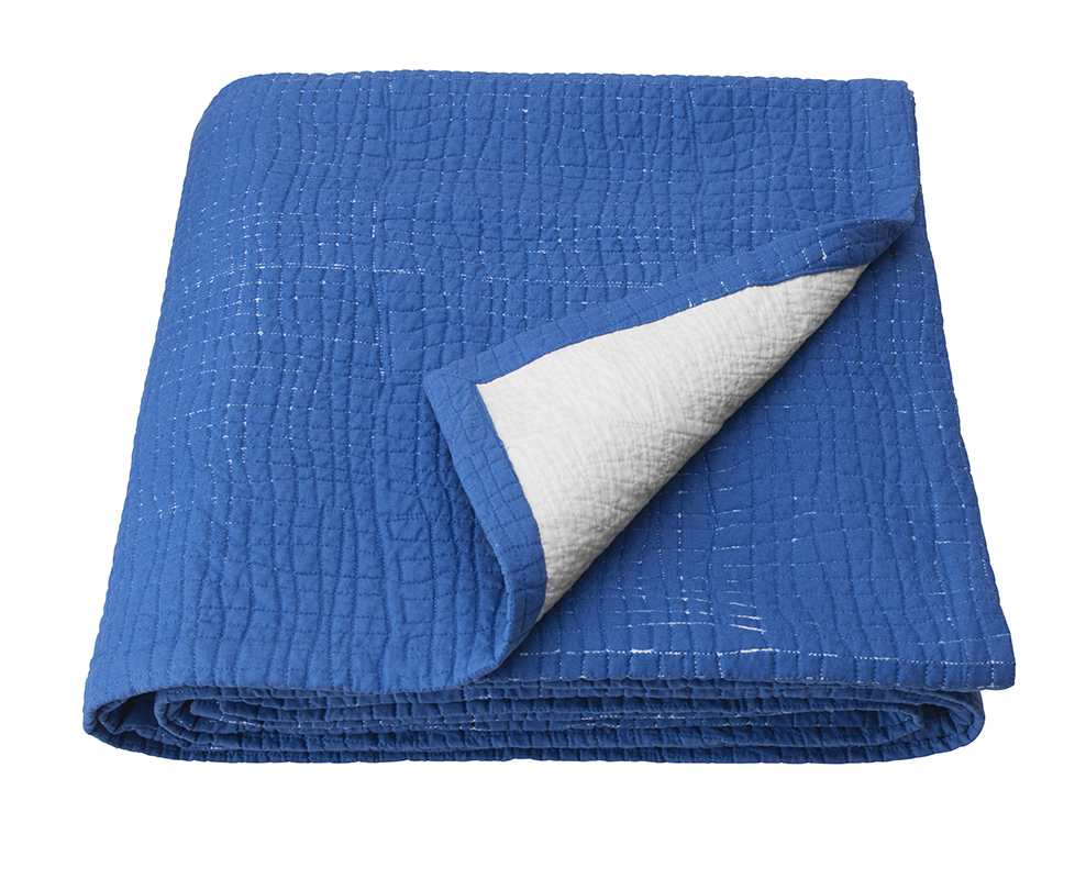 Ikea April Collection 2019: blue quilted TÄNKVÄRD bedspread blanket