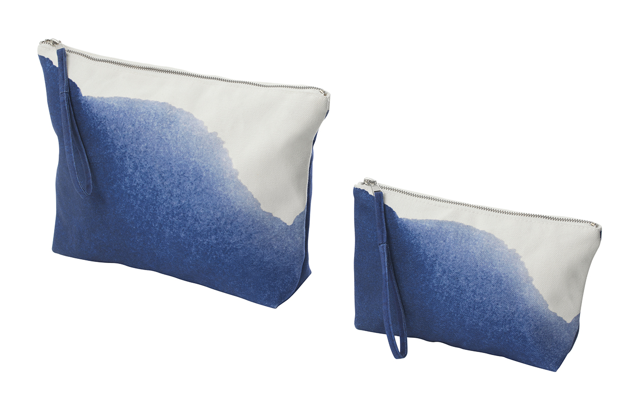 Ikea April Collection 2019: large and small TÄNKVÄRD cotton accessory bags with blue dye