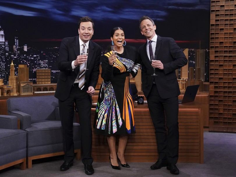 Lily Singh Late Night Show: Jimmy Fallon, Lily Singh, and Seth Meyers cheers on set