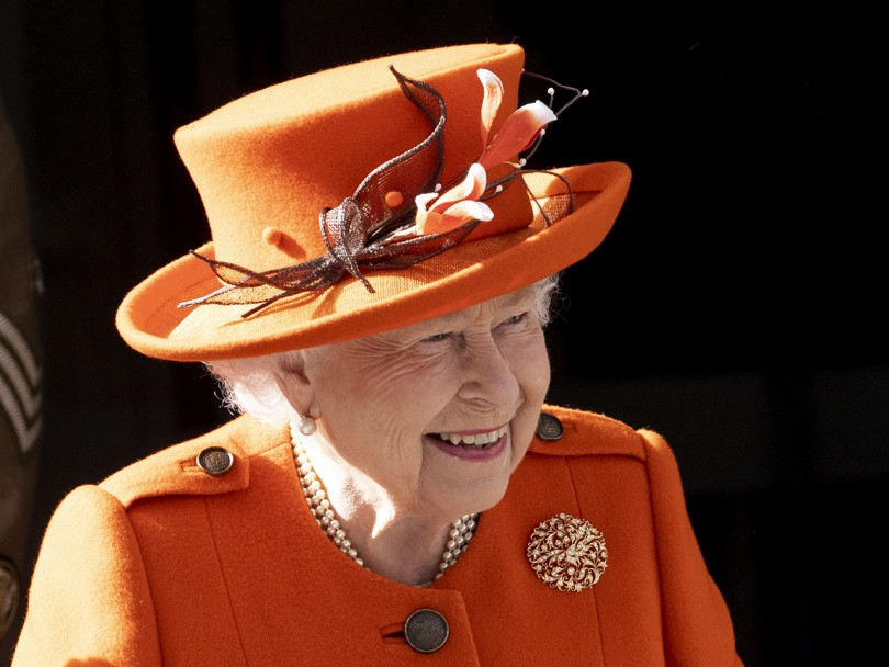 Queen Elizabeths first Instagram post: the Queen in orange hat and coat