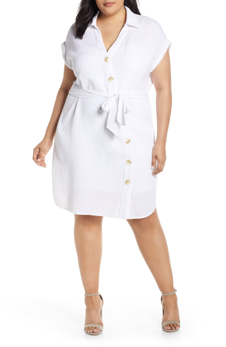 1.State Asymmetrical Button Down Shirtdress