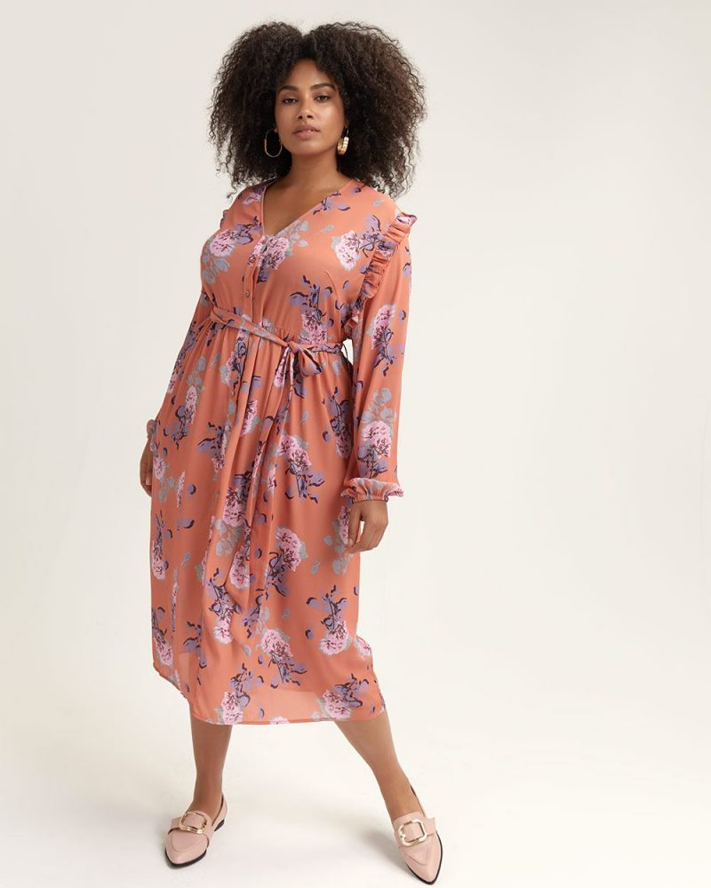 Lost Ink Floral Shirt Dress