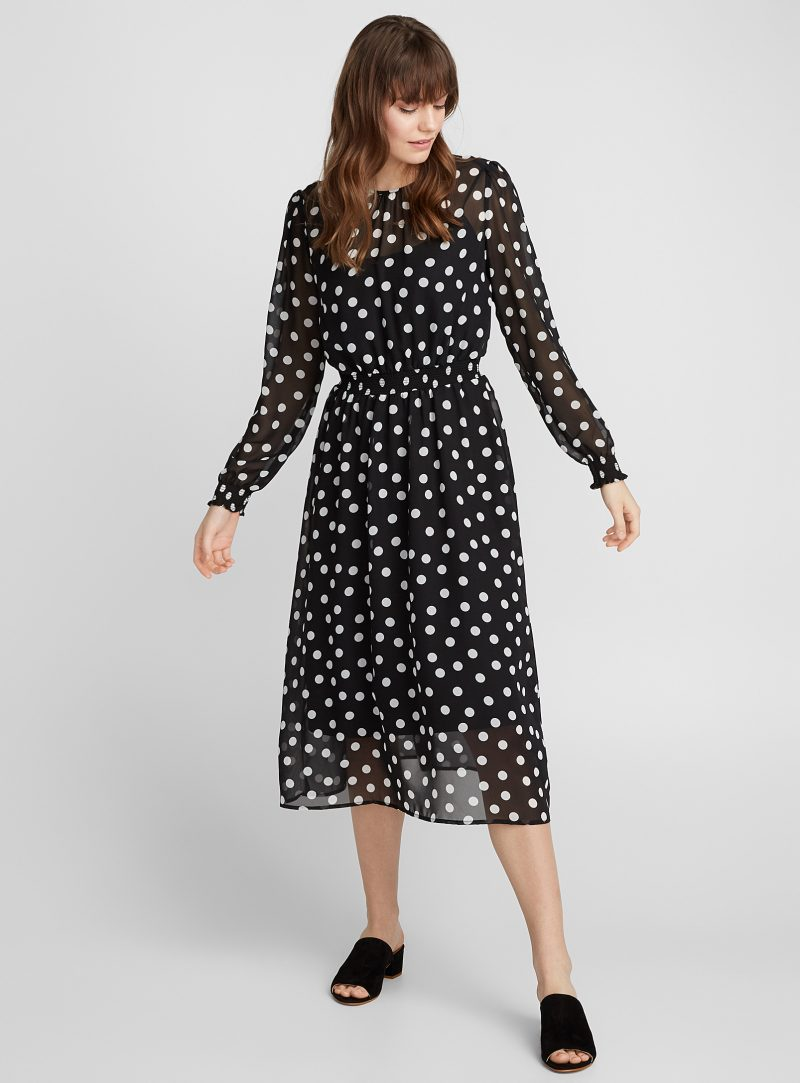 Simons Icone Honeycomb-waist dotted dress