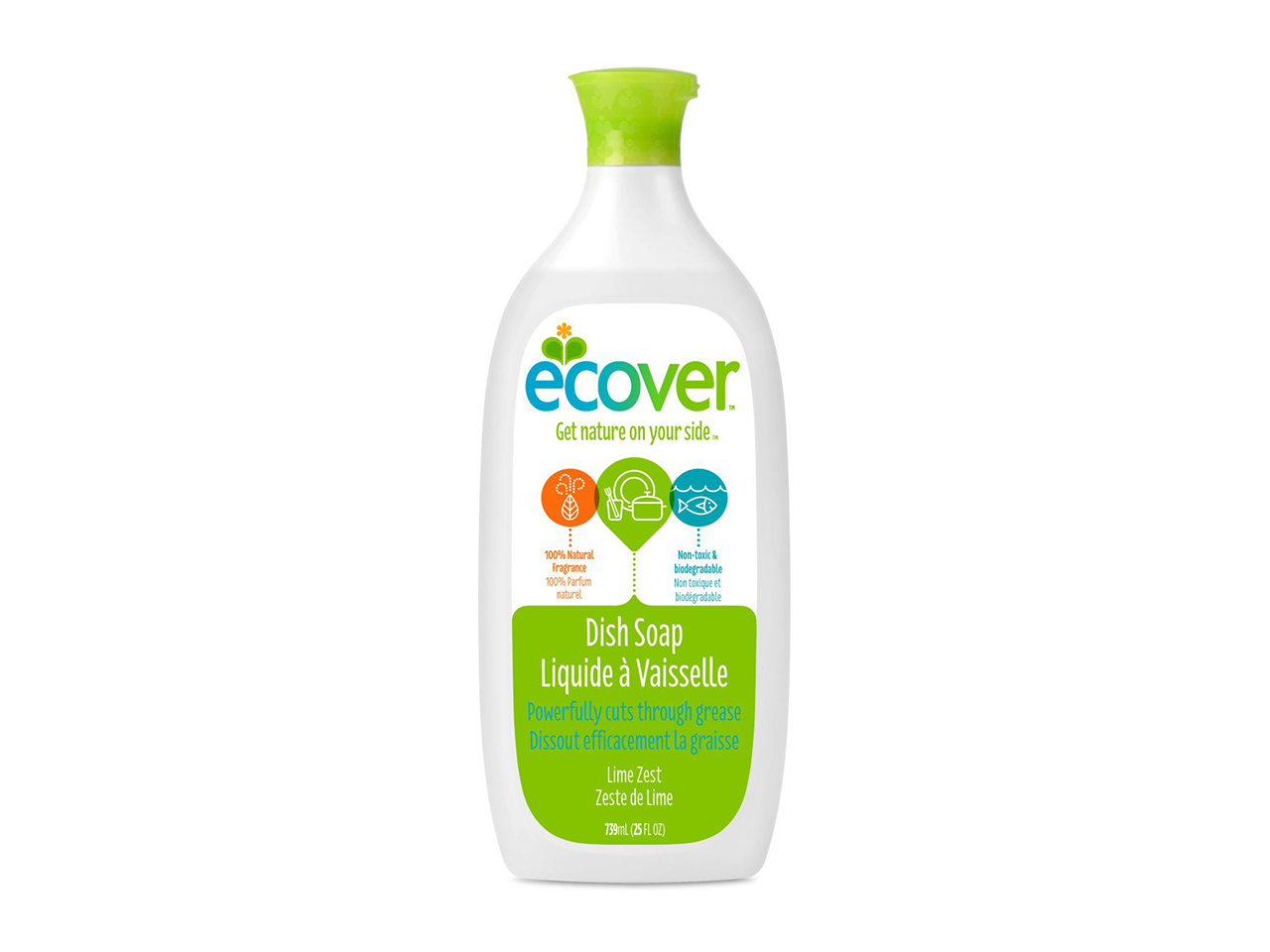 Eco-friendly cleaners, white ecover dish soap bottle with green cap and label