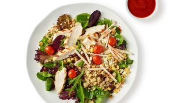Chicken & Quinoa Protein Bowl with red sauce on side — healthiest food items to order at starbucks