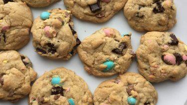 Chocolate chip cookies stuffed with Mini Eggs.